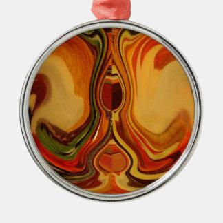Color retro fresco de la trama de la caída de adorno redondo plateado