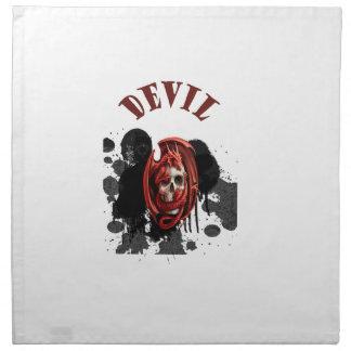 Color rojo del cráneo del diablo servilletas imprimidas
