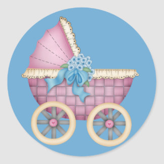 Color rosado del cochecito/del carro de bebé - pegatina redonda