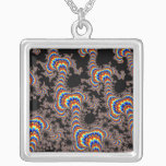 Color Run - Fractal Art Silver Plated Necklace