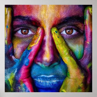 color run rainbow paint mask portrait poster