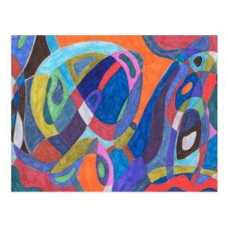 """""""Color Rush"""" Abstract Postcard"""