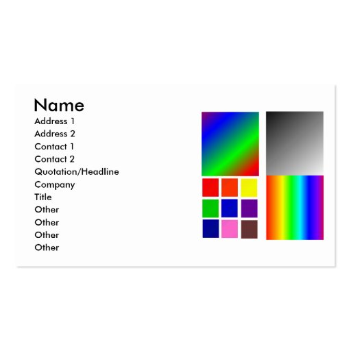 Color Samples Different Squares and such Business Cards