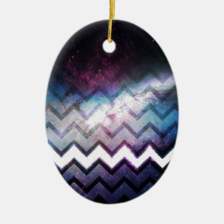 Color Saturated Galaxy Nebula with Chevrons Ceramic Ornament
