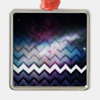 Color Saturated Galaxy Nebula with Chevrons Metal Ornament