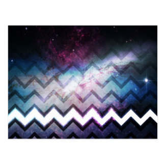 Color Saturated Galaxy Nebula with Chevrons Postcard