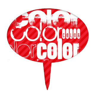 Color; Scarlet Red Stripes Cake Pick
