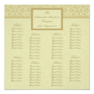 Color Select Damask Seating Arrangement Chart Poster