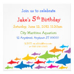 Color Sharks Birthday Invitation