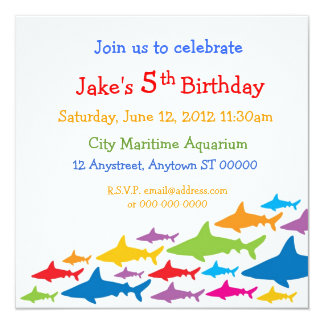 "Color Sharks Birthday Invitation 5.25"" Square Invitation Card"