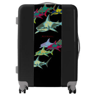 color sharks on black luggage with name