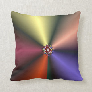 Color Silk Folds w/ Monogram Throw Pillow