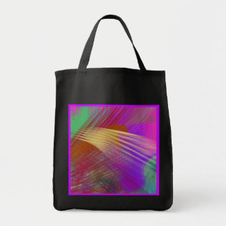 Color Slash Splash Fun Abstract Reusable Black Tote Bag
