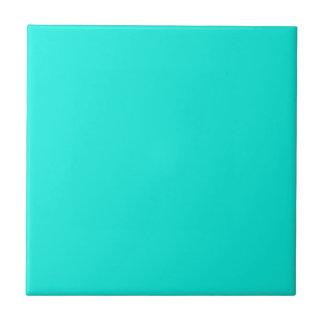 Color sólido: Aguamarina brillante Azulejo Cuadrado Pequeño