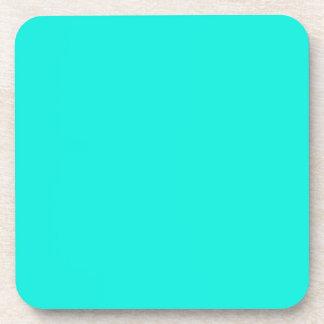 Color sólido: Aguamarina brillante Posavasos De Bebidas