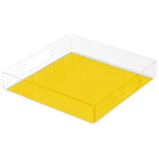 Color sólido amarillo del autobús escolar bandeja cuadrada