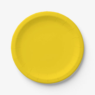 Color sólido amarillo del autobús escolar plato de papel de 7 pulgadas