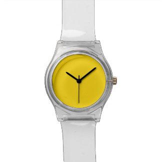 Color sólido amarillo del autobús escolar reloj