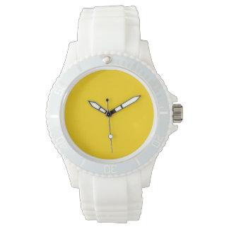 Color sólido amarillo del autobús escolar relojes de pulsera