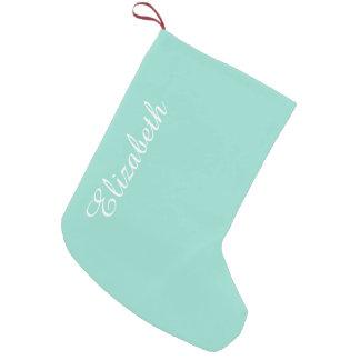 Color sólido azul del huevo del petirrojo calcetín navideño pequeño