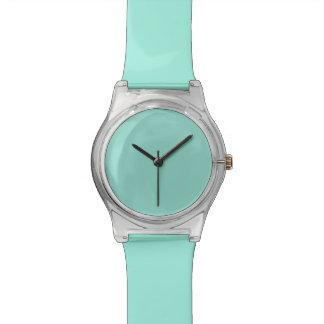 Color sólido azul del huevo del petirrojo relojes de pulsera