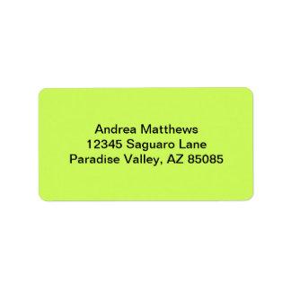 Color sólido chartreuse etiqueta de dirección