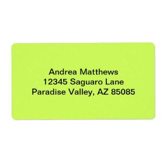 Color sólido chartreuse etiquetas de envío