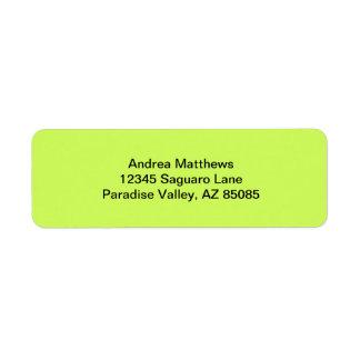 Color sólido chartreuse etiquetas de remite