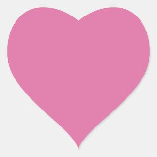 Color sólido color de rosa pegatina en forma de corazón