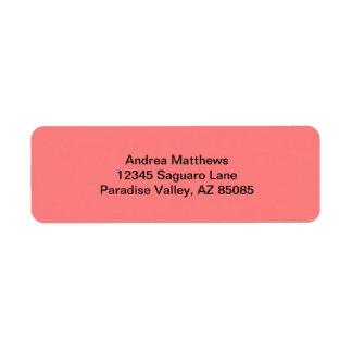 Color sólido coralino ligero etiqueta de remitente