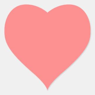 Color sólido coralino ligero pegatina en forma de corazón
