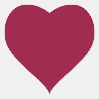 Color sólido de Borgoña Pegatina En Forma De Corazón