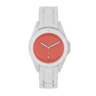 Color sólido de color salmón reloj de mano