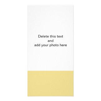 Color sólido de gama alta amarillo de las natillas tarjetas personales con fotos
