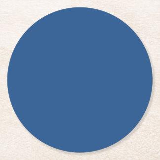 Color sólido de gama alta azul clásico posavasos de cartón redondo