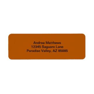 Color sólido de la especia de la calabaza etiqueta de remitente
