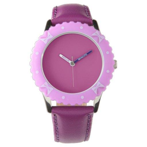 Color sólido de la frambuesa ligera relojes de pulsera