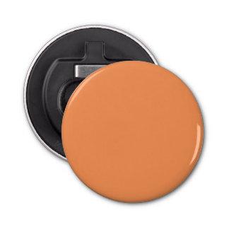 Color sólido de la mandarina de moda abrebotellas redondo