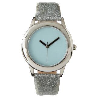 Color sólido de los azules claros relojes de pulsera