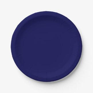 Color sólido de los azules marinos plato de papel 17,78 cm
