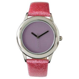 Color sólido del ciruelo relojes de pulsera