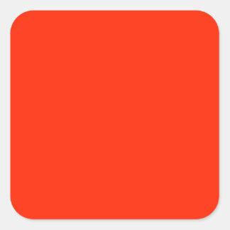 Color sólido del escarlata pegatina cuadrada