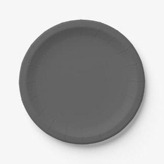 Color sólido del gris de carbón de leña plato de papel 17,78 cm