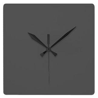 Color sólido del gris de carbón de leña reloj cuadrado