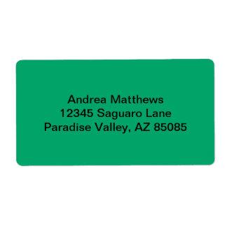 Color sólido del jade etiqueta de envío