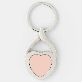 Color sólido del melocotón llavero plateado en forma de corazón