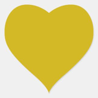 Color sólido del oro pegatina en forma de corazón