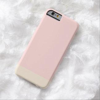 Color sólido del oro rosado llano simple femenino funda para iPhone 6 barely there