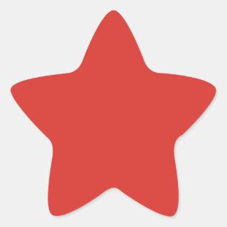 Color sólido del rojo anaranjado - el tender del pegatina en forma de estrella