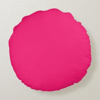 Color sólido del rosa impactante cojín redondo
